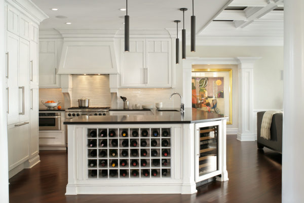mix white wine rack with stainless appliances for a fun and modern kitchen