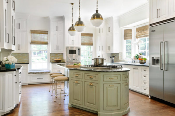 white cabinets and distressed green island to beautifully contrast stainless appliances