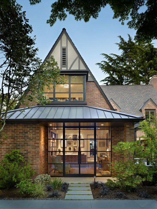 an elegant red brick house featuring best gable roof in attractive shenandoah color