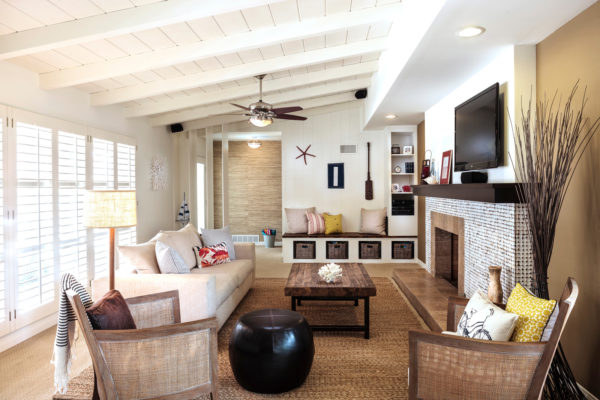 brown tiles in front of classic fireplace for a rustic chic vibe mixed with modern elements