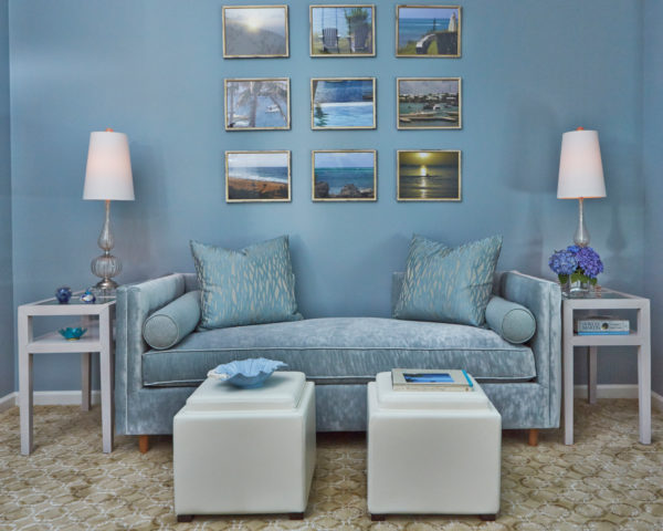 try an all-blue living room and gold picture frames for a calming space