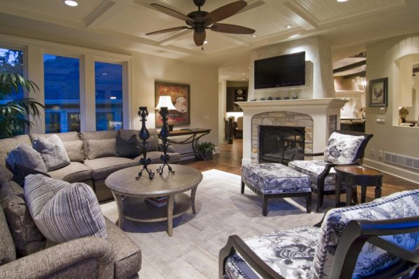 white - valspar's hush hush – traditional family room with opulent furniture and intricate patterns