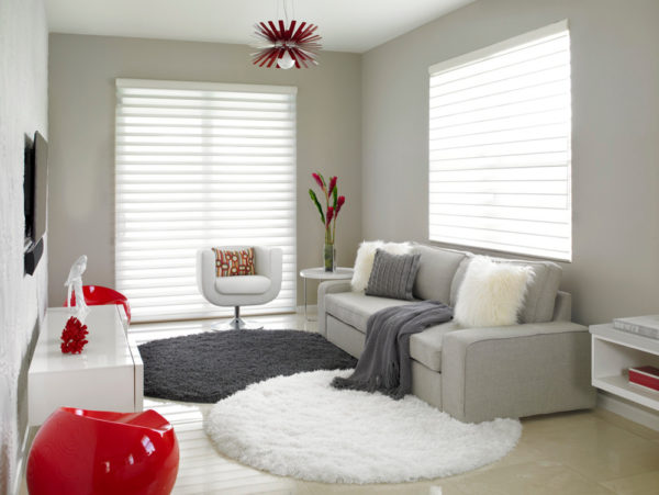 complement clean lines with different textures for a voguish red, white, and gray living room