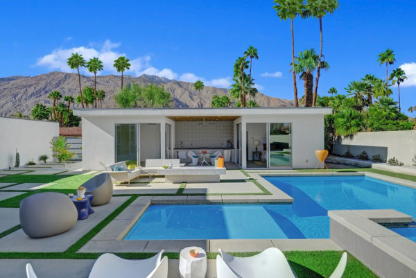 try a minimalist backyard with stylish lap pool, modest pool house, and a contemporary bathroom
