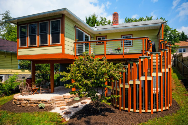 play with colors and bold design to build a trendy second-story deck