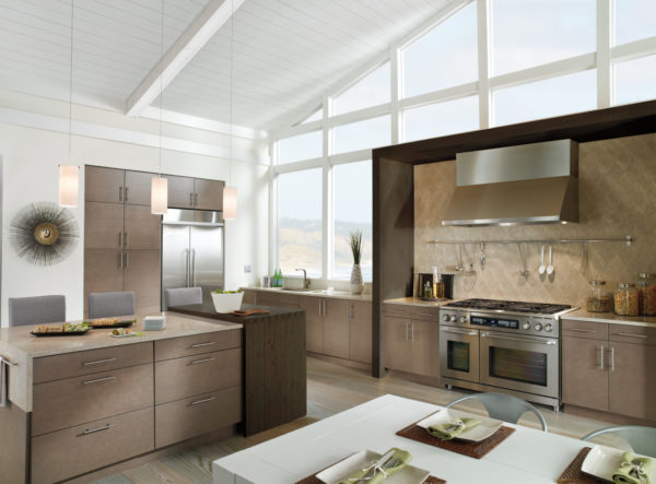 brown cabinets and white walls with floor-to-ceiling windows can create a stunning modern kitchen