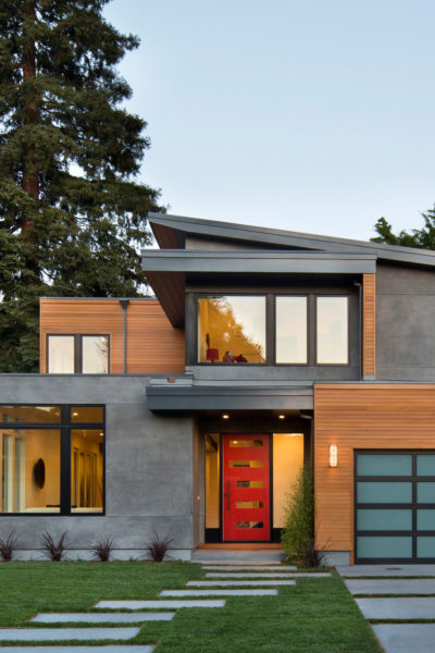 include horizontal windows on the red door for a contemporary and unique house