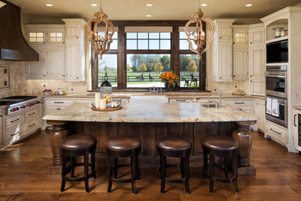 try a modern ranch style for a rustic yet stylish white and brown kitchen