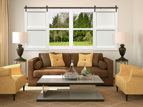 use sliding barn door window shutters to establish the privacy of your living room